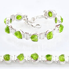 32.79cts natural green peridot raw 925 sterling silver tennis bracelet t6721