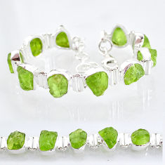 42.76cts natural green peridot raw 925 sterling silver tennis bracelet t6723