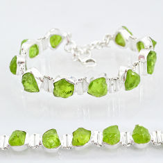 42.41cts natural green peridot raw 925 sterling silver tennis bracelet t6727