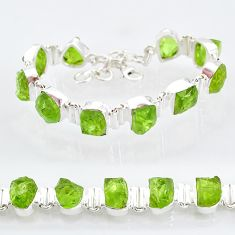 41.98cts natural green peridot raw 925 sterling silver tennis bracelet t6730