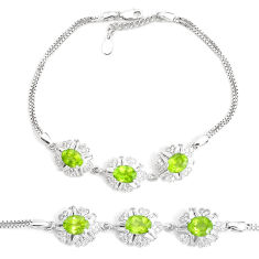 13.22cts natural green peridot topaz 925 sterling silver bracelet jewelry c19715