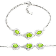 9.31cts natural green peridot topaz 925 sterling silver bracelet jewelry c19716