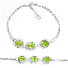 9.91cts natural green peridot topaz 925 sterling silver tennis bracelet c19705