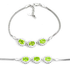 11.11cts natural green peridot topaz 925 sterling silver tennis bracelet c19707