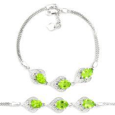 10.24cts natural green peridot topaz 925 sterling silver tennis bracelet c19708