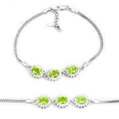 8.66cts natural green peridot topaz 925 sterling silver tennis bracelet c19709