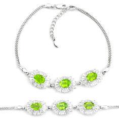 13.34cts natural green peridot topaz 925 sterling silver tennis bracelet c19712