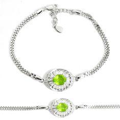 5.63cts natural green peridot topaz 925 sterling silver tennis bracelet c25944