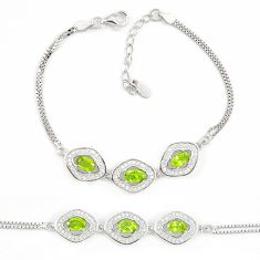 Natural green peridot topaz 925 sterling silver tennis bracelet jewelry c19706