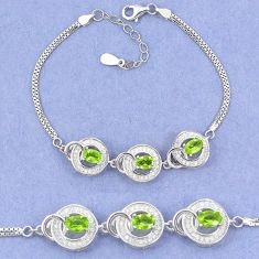 Natural green peridot topaz 925 sterling silver tennis bracelet jewelry c19711