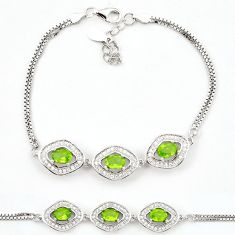 Natural green peridot topaz 925 sterling silver tennis bracelet jewelry c19758