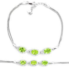 7.62cts natural green peridot white topaz 925 silver bracelet jewelry c19744