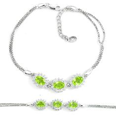 7.62cts natural green peridot white topaz 925 sterling silver bracelet c19702