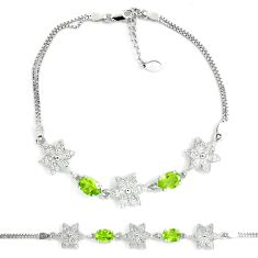 7.50cts natural green peridot white topaz 925 sterling silver bracelet c19752
