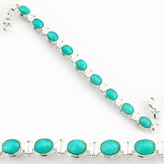 Clearance Sale- 40.17cts natural green peruvian amazonite 925 silver tennis bracelet d44363