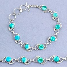 15.20cts natural green turquoise tibetan 925 sterling silver bracelet t8463