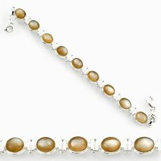 Clearance Sale- 37.43cts natural grey moonstone 925 sterling silver tennis bracelet d44366