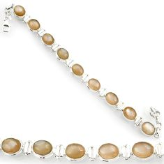 Clearance Sale- 37.43cts natural grey moonstone 925 sterling silver tennis bracelet d44369