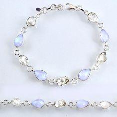 40.01cts natural herkimer diamond moonstone 925 silver tennis bracelet r61731