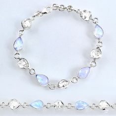 40.06cts natural herkimer diamond moonstone 925 silver tennis bracelet r61733