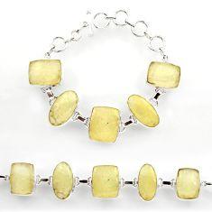 61.66cts natural libyan desert glass 925 sterling silver tennis bracelet r27502