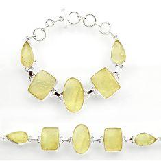 56.86cts natural libyan desert glass 925 sterling silver tennis bracelet r27503