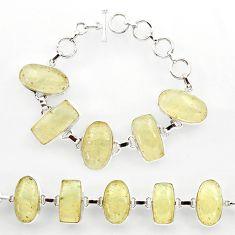 65.95cts natural libyan desert glass 925 sterling silver tennis bracelet r27506
