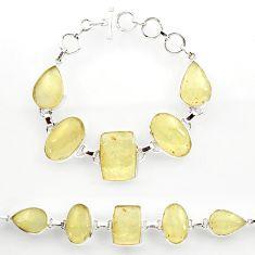 61.15cts natural libyan desert glass 925 sterling silver tennis bracelet r27507