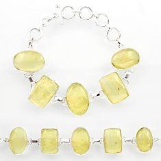 64.87cts natural libyan desert glass 925 sterling silver tennis bracelet r27508