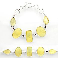 57.34cts natural libyan desert glass 925 sterling silver tennis bracelet r27509