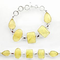 67.58cts natural libyan desert glass 925 sterling silver tennis bracelet r27510