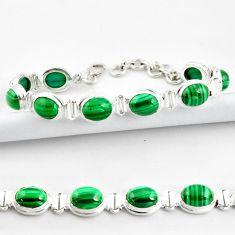 40.36cts natural malachite (pilot's stone) 925 silver tennis bracelet r39009