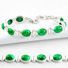 40.36cts natural malachite (pilot's stone) 925 silver tennis bracelet r39010