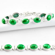41.53cts natural malachite (pilot's stone) 925 silver tennis bracelet r39011
