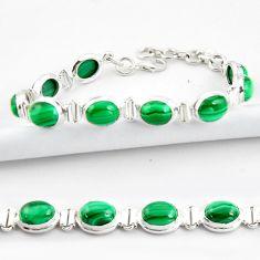 40.36cts natural malachite (pilot's stone) 925 silver tennis bracelet r39013