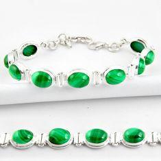 40.36cts natural malachite (pilot's stone) 925 silver tennis bracelet r39014