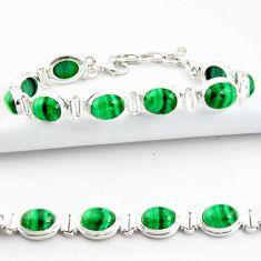 40.36cts natural malachite (pilot's stone) 925 silver tennis bracelet r39015