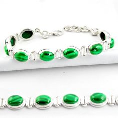 39.01cts natural malachite (pilot's stone) 925 silver tennis bracelet r39016