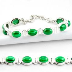 41.06cts natural malachite (pilot's stone) 925 silver tennis bracelet r39017