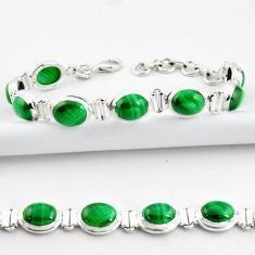 33.76cts natural malachite (pilot's stone) 925 silver tennis bracelet r39020