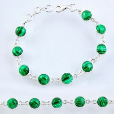 27.69cts natural malachite (pilot's stone) 925 silver tennis bracelet r55085