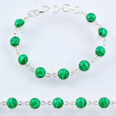 27.13cts natural malachite (pilot's stone) 925 silver tennis bracelet r55103