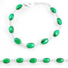 21.80cts natural malachite (pilot's stone) 925 silver tennis bracelet r74661