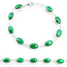 21.30cts natural malachite (pilot's stone) 925 silver tennis bracelet r74663