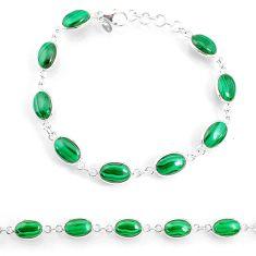21.30cts natural malachite (pilot's stone) 925 silver tennis bracelet r74665