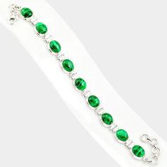 42.41cts natural malachite (pilot's stone) 925 silver tennis bracelet r84267