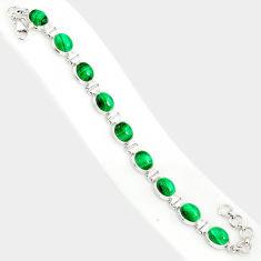 42.78cts natural malachite (pilot's stone) 925 silver tennis bracelet r84271