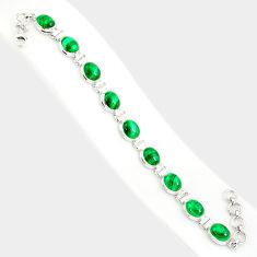 39.48cts natural malachite (pilot's stone) 925 silver tennis bracelet r84273