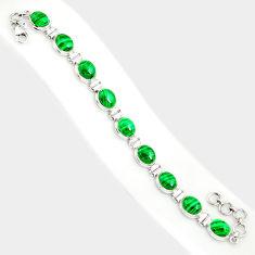 44.03cts natural malachite (pilot's stone) 925 silver tennis bracelet r84274