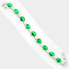 42.39cts natural malachite (pilot's stone) 925 silver tennis bracelet r84280